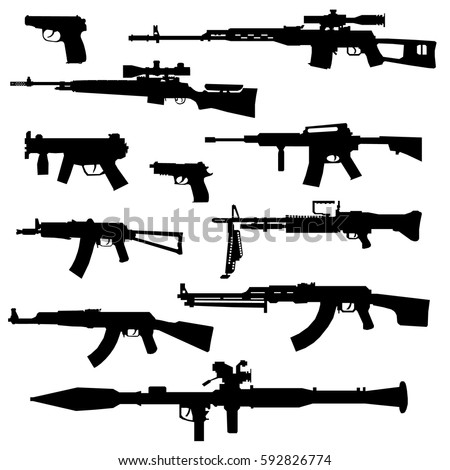 silhouettes of various weapon