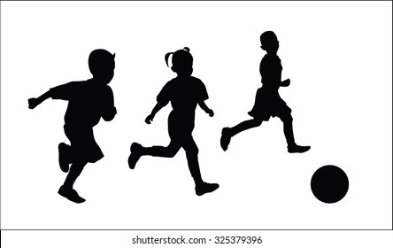 silhouettes vector of children football  playing.