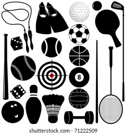 Silhouettes Vector of different Balls, exercise equipments isolated on white - golf ball, bowling, basketball, tennis, etc. A set of cute and colorful icon collection isolated on white background