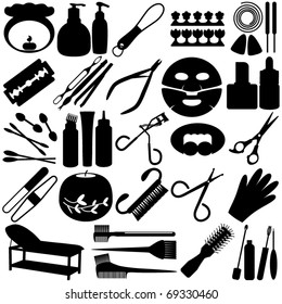 Silhouettes Vector of pedicure, manicure, beauty tools, Spa Icons, Cosmetics. A set of cute icon collection isolated on white background