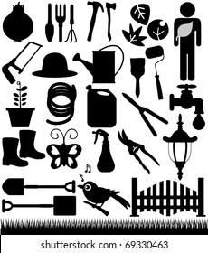 Silhouettes Vector of Shovels, Spades, Gardening tools, fence, grass. A set of cute icon collection isolated on white background