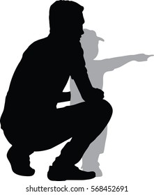 silhouettes Vector of side view of happy father and son looking away while child pointing away and standing isolated on white background, What is there?