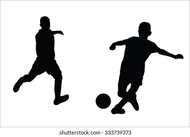 Silhouettes vector of young boy football  playing.