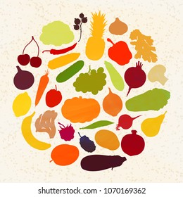 Silhouettes of vegetables and fruits form a circle. Vector illustration. Vintage. A set of graphic elements on the theme of harvesting.