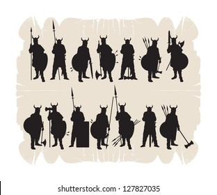 Silhouettes of the Vikings, vector
