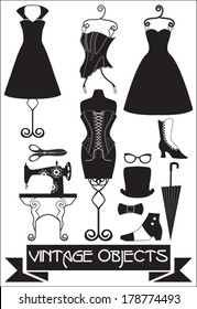 silhouettes of vintage fashion objects