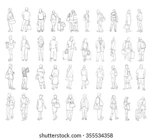 Silhouettes of walking people, carrying bags etc. Sketch collection