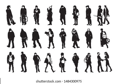 Silhouettes of walking people, vector Illustration with hand drawing sketch from plein air