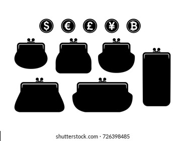 Silhouettes of wallets. Set of different wallets and coins. Wallet icon. Wallet sign with currency symbols. Vector illustration.