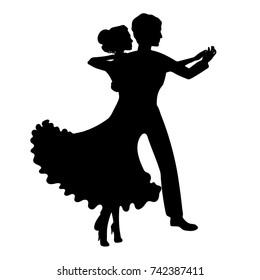 Silhouettes waltz dancers, men and women.