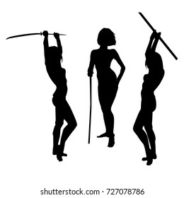 silhouettes of warrior girl with spear and sword vector