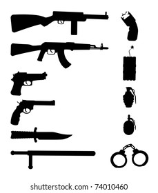Silhouettes of weapon