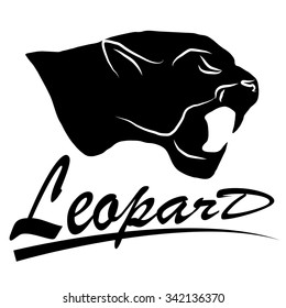 Silhouettes of the white and the black panthers for logo, emblem, tattoo. Snarling aggressive wild animal. Vector illustration