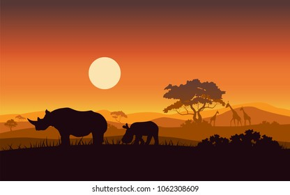 Silhouettes of wild African Rhino sunset safari animals vector.