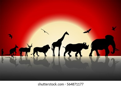 Silhouettes of wild animals on red sunset background. Vector illustration