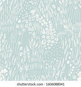 Silhouettes wildflowers, grass and insects scattered on turquoise background, seamless floral abstract pattern with flowers. Vector meadow hand drawn illustration in vintage style.