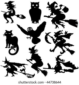 Silhouettes of witch flying on broom vector illustration cartoon