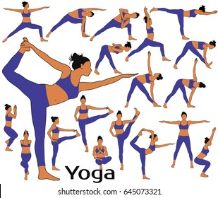 Silhouettes of woman with colored skin tone in costume doing yoga workout and fitness exercises. Colored yoga icons isolated on white background.