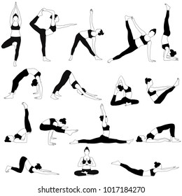 Silhouettes of woman in costume doing yoga exercises.  Icons of flexible girl stretching her body in different yoga poses. Black shapes of woman isolated on white background.