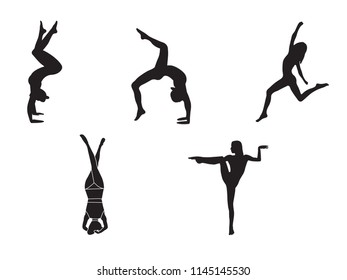 Silhouettes of woman doing yoga exercises. Icons of flexible girl stretching and relaxing her body in different yoga poses. Black shapes of woman isolated on white background