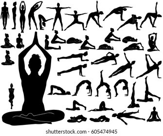 Silhouettes of woman doing yoga exercises.  Icons of flexible girl stretching and relaxing her body in different yoga poses. Black shapes of woman isolated on white background.