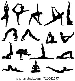 Silhouettes of woman doing yoga exercises.  Icons of flexible girl stretching her body in different yoga poses. Black shapes of woman isolated on white background.