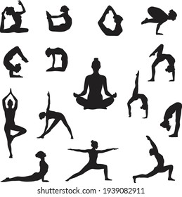 Silhouettes of woman doing yoga poses