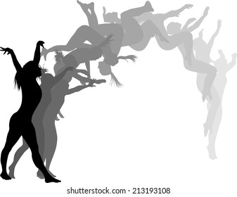 Silhouettes of a woman gymnast executing a back flip.