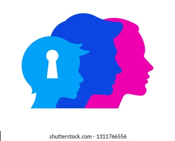 Silhouettes of woman, man and boy in different colors. Psychology of family relations, communication between adults and children. On boy's head is a keyhole. Symbol of thoughts and behavior of child.