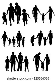 Silhouettes of woman, man, children, family, vector illustration. Set of family