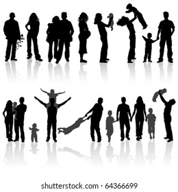 Silhouettes of woman, man, children, family. Isolated vector illustration