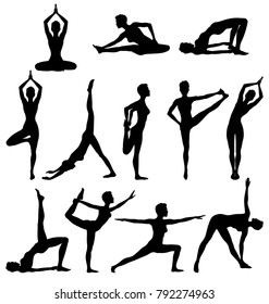 Silhouettes of woman practicing yoga, relaxation and meditation