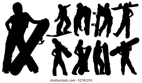 Silhouettes of woman with a snowboard