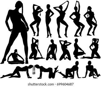 Silhouettes of woman standing, siting and dancing in different poses. Set of black vector shapes of sexy pinup girls in bikini.