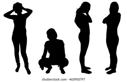 silhouettes of women in despair