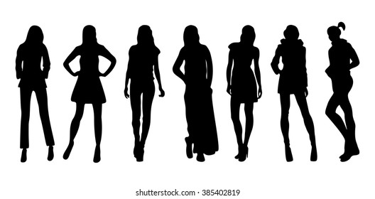 silhouettes of women in different poses
