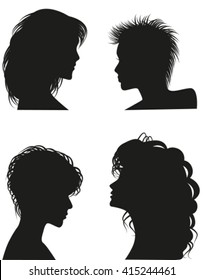 Silhouettes of women hairstyles. Vector