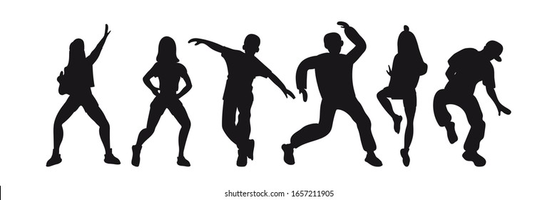 Silhouettes of women and men dancing modern dances: hip-hop, break dance. Vector graphic elements for the design of posters, invitations, banners for courses, schools, competitions, shows, parties