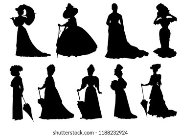 Silhouettes of women. Women in old vintage dresses. The woman in the hat. Woman with umbrella. Isolated silhouettes. Vector