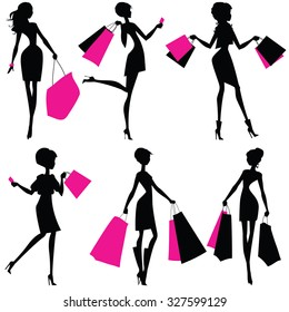 Silhouettes of women with shopping bags. Set of silhouettes of shoppers girls. Buyers isolated on white background. Vector illustration.