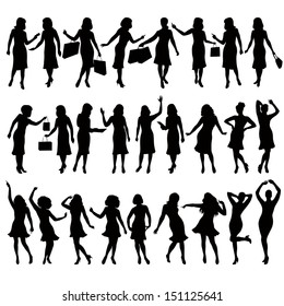 silhouettes of women in various poses