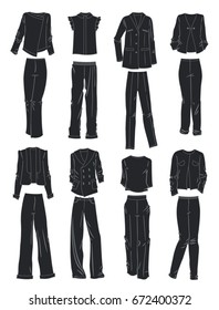 Silhouettes of women's business suits isolated on white background