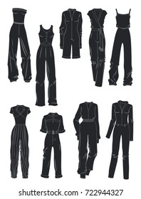 Silhouettes of women's overalls isolated on white background