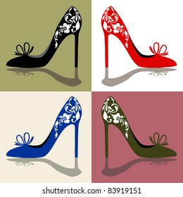 Silhouettes of women's shoes, high heels with ornaments, vector illustration