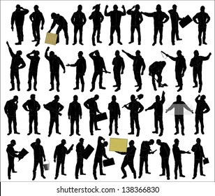 silhouettes of of working people