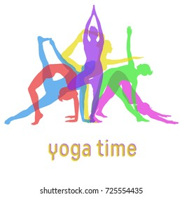 Silhouettes of yoga girls mixed together for yoga banner design. Colored vector icons of woman practicing different yoga poses.