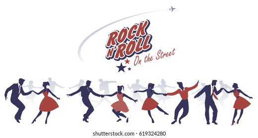 Silhouettes of young couples wearing 50's clothes dancing rock and roll