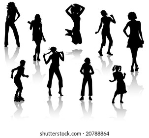 Silhouettes of young girls. A fashion and sports