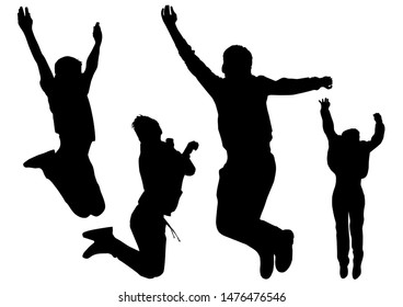 Silhouettes of young happy boys who jump in height and freedom feel from this joy