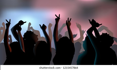 Silhouettes of young people dancing in club. Vector illustration.